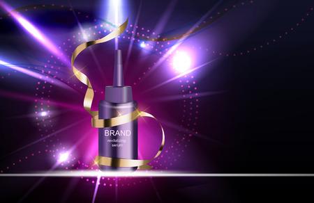 Revitalizing Serum for Hair Bottle Template for Ads or Magazine Background. 3D Realistic Vector Iillustration. EPS10