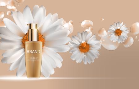 toner: Skin Toner Bottle Tube Template for Ads or Magazine Background. Illustration