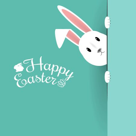 Beautiful Easter Hare on blue  . Vector Illustration