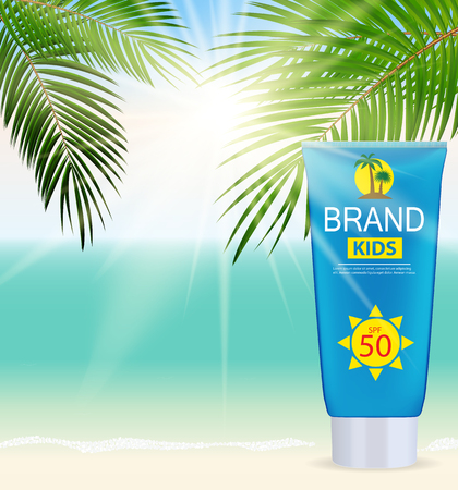 Sun Care Cream Bottle, Tube Template for Ads or Magazine Background. 3D Realistic Vector Iillustration. EPS10 Illustration