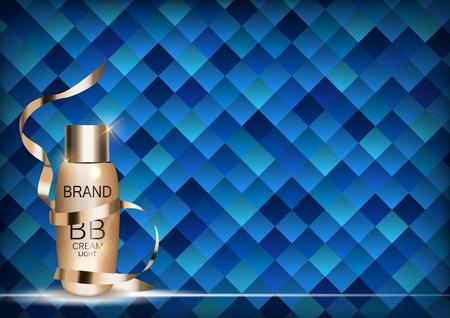 BB Cream Bottle Template for Ads or Magazine. 3D Realistic Illustration. Illustration