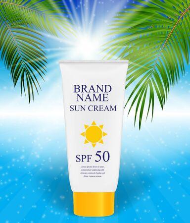 Sun Care Cream Bottle, Tube Template for Ads or Magazine Backgro
