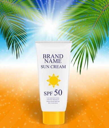sun cream: Sun Care Cream Bottle, Tube Template for Ads or Magazine Backgro