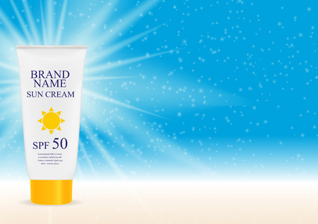 Sun Care Cream Bottle, Tube Template for Ads or Magazine Backgro 版權商用圖片 - 73708455
