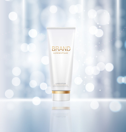 Plantilla de diseño de productos cosméticos para anuncios o revista Backgroun Ilustración de vector
