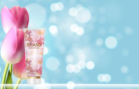 Handpflege-Creme-Flasche, Schlauch Vorlage für Werbung oder Magazine Backgr