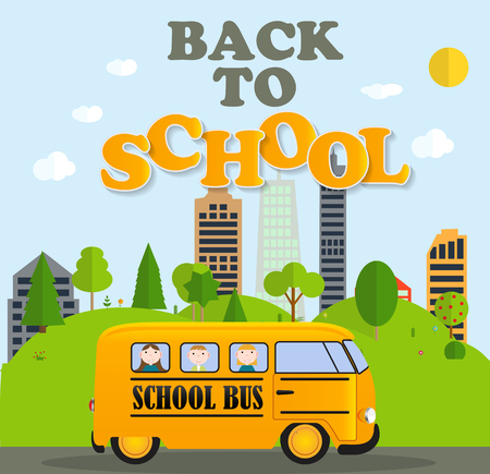 Back to School Background with Yellow Bus Vector Illustration Illustration