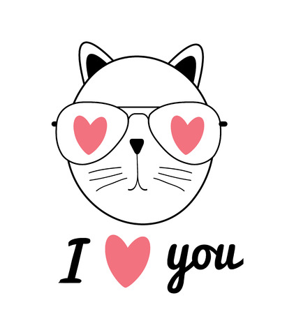 Cute Hand Drawn Cat Vector Illustration. I Love You Concept