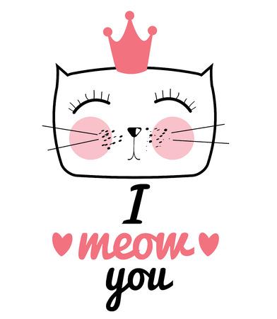 Illustrazione disegnata a mano di gatto di vettore . Ti amo il concetto di amore