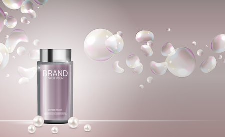 Design Cosmetics Product  Template for Ads or Magazine. 3D Realistic Illustration. Illusztráció
