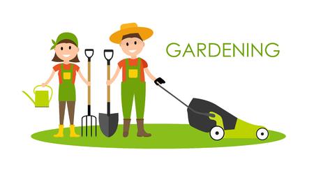 Garden Background Vector Illustration. Farmer Gardener Man and W