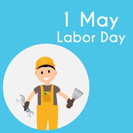 Labor Day 1 May Poster. Vector Illustration
