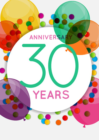 Template 30 Years Anniversary Congratulations, Greeting Card, Invitation Vector Illustration
