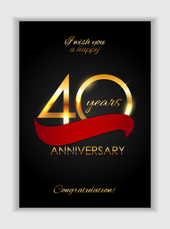 Template 40 Years Anniversary Congratulations Vector Illustration