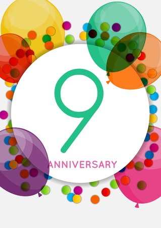 Template 9 Years Anniversary Congratulations, Greeting Card, Inv