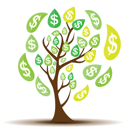 Colored Money Tree, Dependence of Financial Growth Flat Concept. Illustration