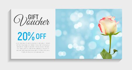 Gift Voucher Card Template with Flowers. 3D Realistic Vector Iil