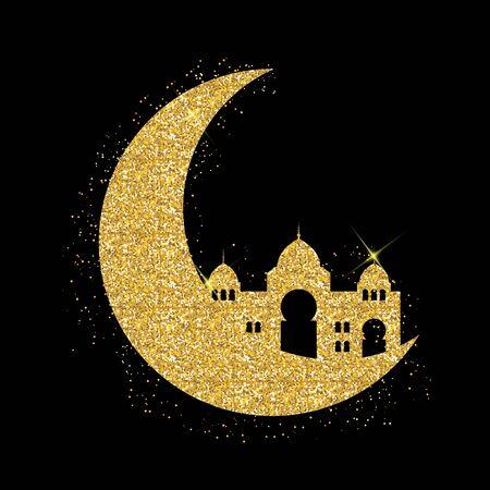 Background for Muslim Community Festival Ramadan Kareem.  Eid Mubarak. Vector Illustration