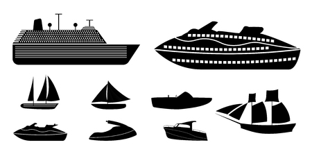 Set of different types of boats for recreation and fishing on ri