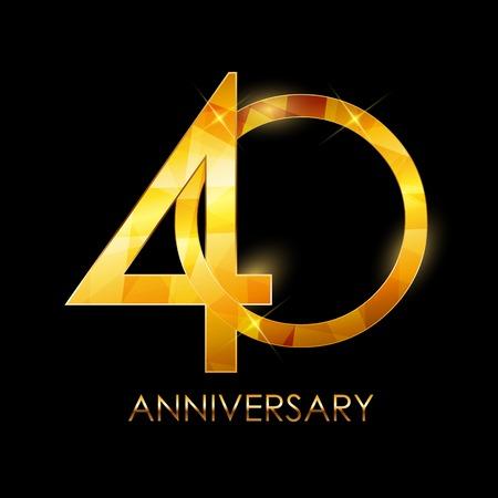 Sjabloon 40 jaar verjaardag Gefeliciteerd Vector Illustratio
