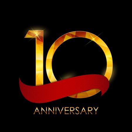 numero diez: Template 10 Years Anniversary Congratulations Vector Illustratio