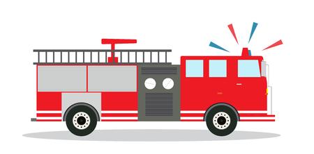 Camion de pompier coloré avec Siren Design plat. Illustration vectorielle Banque d'images - 79980198