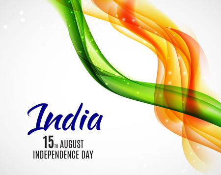 Indian Independence Day Background with Waves Zdjęcie Seryjne - 81295777