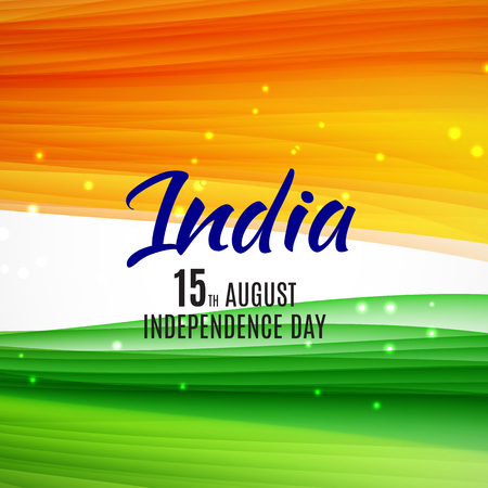 Indian Independence Day Background with Waves. Vector Illustrati