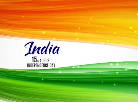 Indische Onafhankelijkheidsdag Achtergrond Met Golven Stock Illustratie
