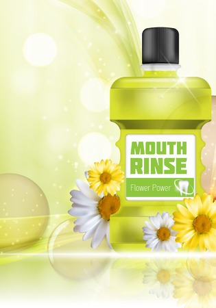 Mouth Rinse Design Cosmetics Product Bottle with Flowers Chamomi