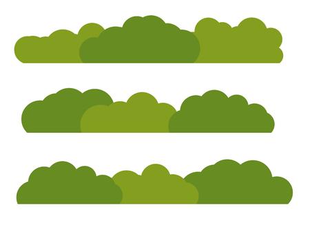 白い背景で隔離の風景フラット アイコンを緑のブッシュ。ベクトル図 EPS10