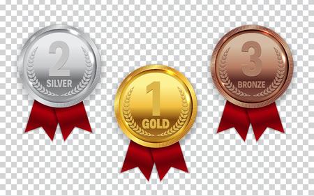 Złoty, srebrny i brązowy medal mistrza ze znakiem ikona czerwoną wstążką