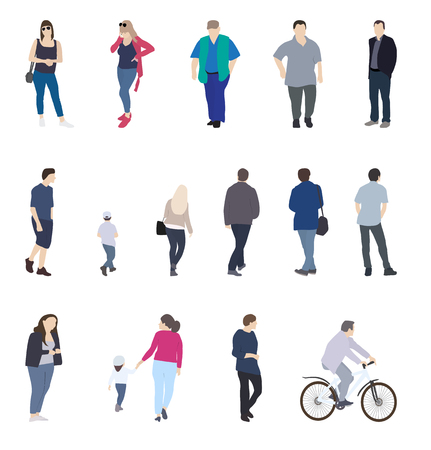 Set of Silhouette Walking People and Children. Vector Illustrati Illustration