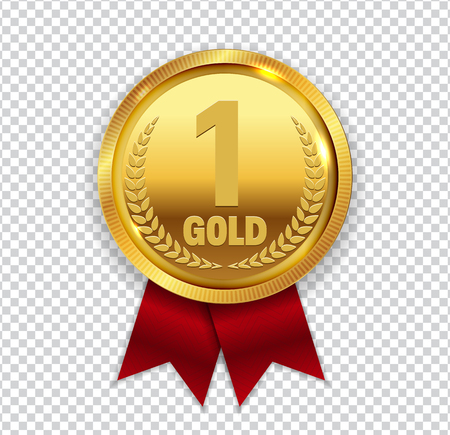 l first: Champion Art Golden Medal with Red Ribbon l Icon Sign First Place Isolated on Transparent Background. Vector Illustration EPS10