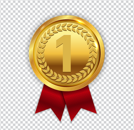 l first: Champion Art Golden Medal with Red Ribbon l Icon Sign First Plac Illustration