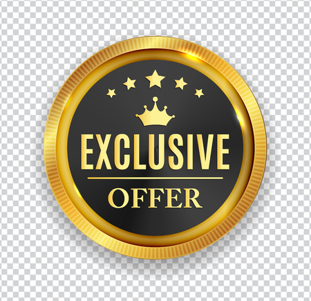 Exclusive Offer Golden Medal Icon Seal  Sign Isolated on White Background. Vector Illustration EPS10 Çizim