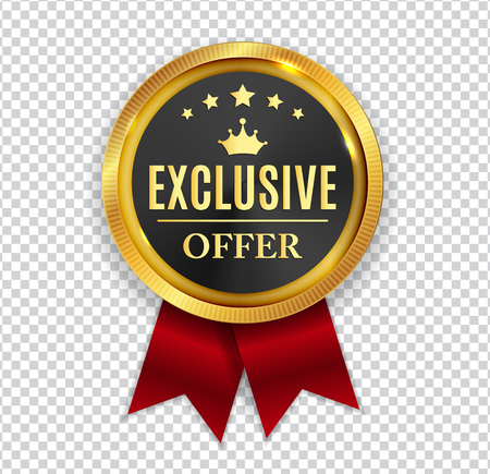 Exclusive Offer Golden Medal Icon Seal  Sign Isolated on White Background.