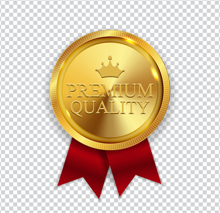 Premium Quality Golden Medal Icon Seal Sign Isolated on White Background. Vetores