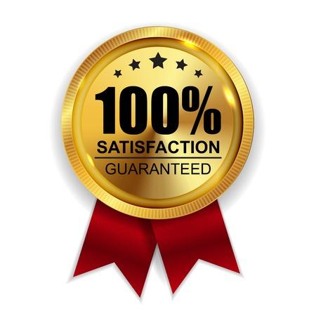 100% Zufriedenheit garantiert goldenes Medaillen-Aufkleber-Ikonen-Siegel-Zeichen lokalisiert auf weißem Hintergrund.