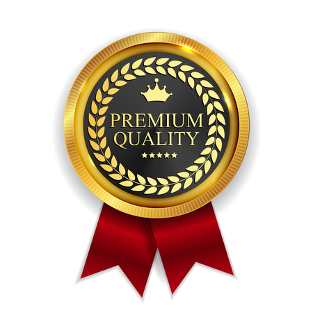 Premium Quality Golden Medal Icon Seal  Sign Isolated on White Background. Vector Illustration EPS10 矢量图像