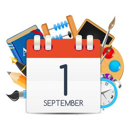 Calendar Icon of 1 September. Vector Illustration Illustration