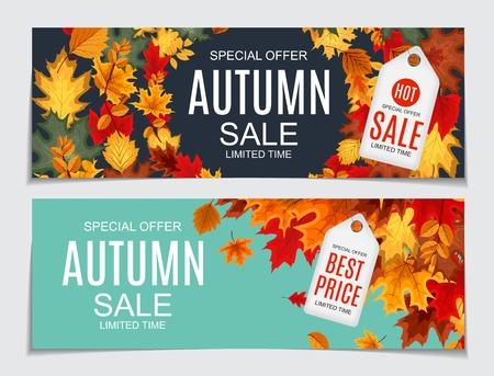Abstracte vectorillustratie Herfst verkoop achtergrond met vallen Stock Illustratie