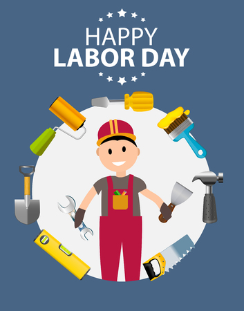 Ilustración feliz del vector del cartel del Día del Trabajo Foto de archivo - 84586690