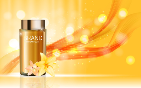 Design Cosmetics Product  with Flowers Golden Liy Template for A Illustration