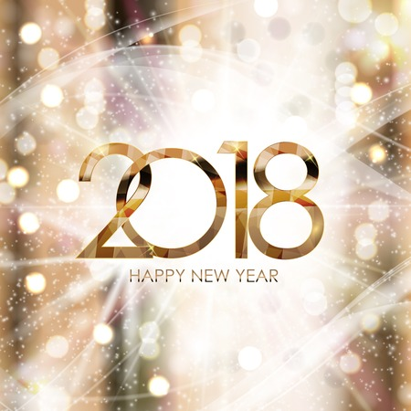 2018 New Year Gold Glossy Background. Vector Illustration Illustration