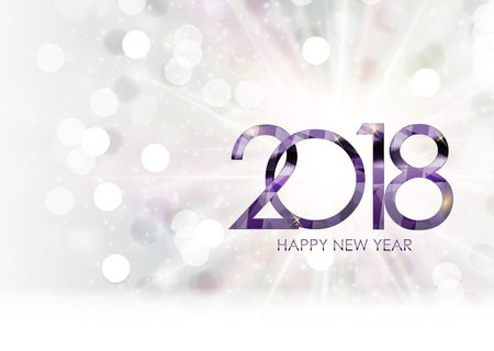 2018 New Year Gold Glossy Background. Vector Illustration 일러스트