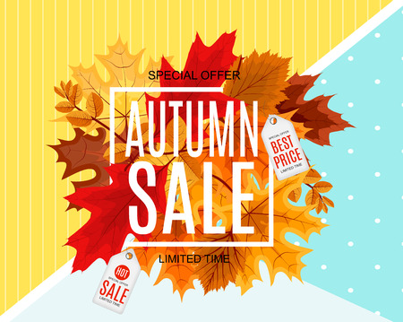 Abstract Vector Illustration Autumn Sale Background with Fallen leaves.