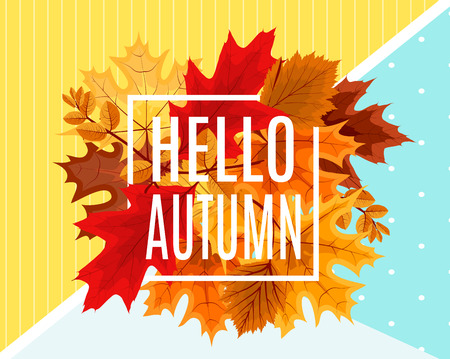 Abstract Vector Illustration Hello Autumn Background with Fallen leaves.