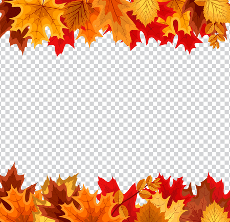 Abstract Vector Illustration Background with Falling Autumn Leaves on Transparent Background