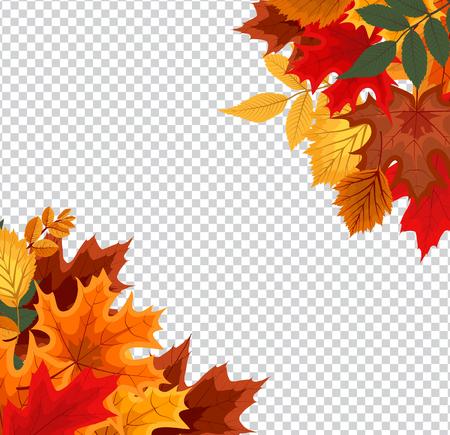 ilustración vectorial abstracto con hojas que caen otoño en el fondo transparente